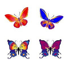 Beautiful Butterfly collection on white background,
