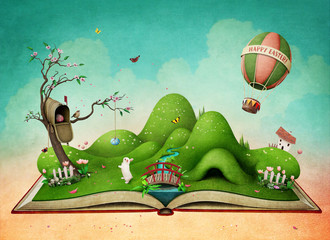 Fantasy spring illustration for Easter holiday greeting card or  poster   with  green landscape on the book .