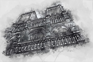 Watercolor drawing of the Church of Notre Dame in Paris, France. City sketch.