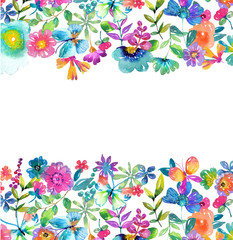 Watercolor color flowers, leaves and butterfly