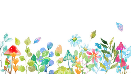 Watercolor collection of color flowers, leaves, mushrooms