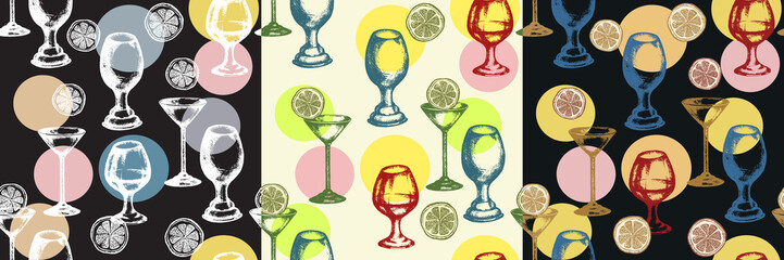 Three alcoholic cocktails seamless pattern hand drawn ink vintage vector