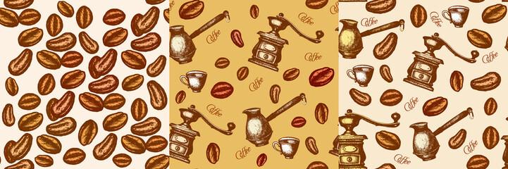 Three coffee retro vintage seamless pattern coffee grinder, coffee maker vintage background hand drawn ink vector
