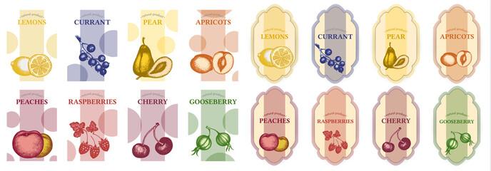 Fruits seamless pattern set