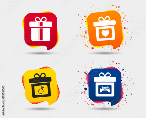 Gift Box Sign Icons Present With Bow And Ribbons Symbols