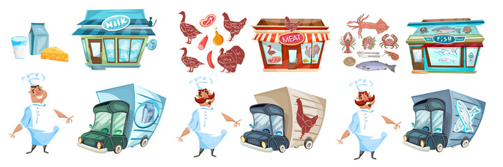 Milk shop, butcher shop and fish shop cartoon collection