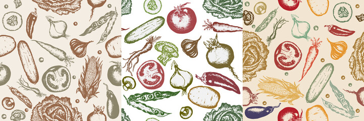 Three vegetable vector seamless pattern. Vintage vegetables pattern.