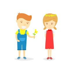 Cartoon character of boy and girl in loving concept, Boy giving flower to girl for love, isolated on white background, Character of happy boy and girl, Love card for valentine day in cartooning style