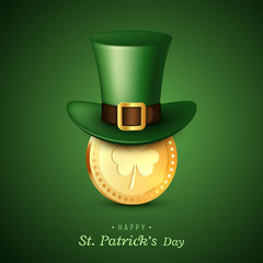 St. Patrick's Day card. Green leprechaun hat with coin. Greeting holiday design. Vector illustration.