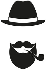 Icon poster man father dad day avatar elements set hat mustache smoking tobacco pipe beard, beaver silhouette.