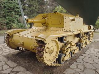 """Historic tank in pubblic park """"La Rocca"""" Bergamo, lombardy Italy"""