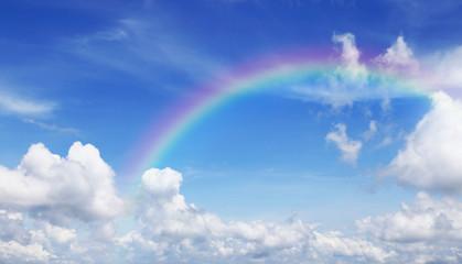 Beautiful Blue sky and cloud with rainbow.
