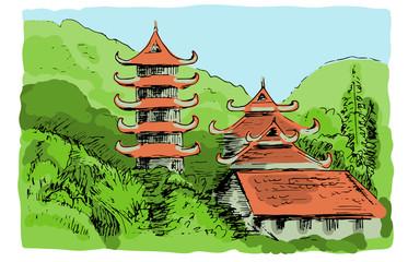 Asian mountain landscape with Buddish temple, Vietman. Color sketch illustration.