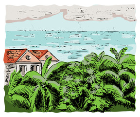 Sea, palms and bungalows. Color sketch.