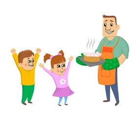 Happy dad with the kids cook a birthday cake for mom and wife. 8 March or birthday. Vector illustration, isolated on white background.