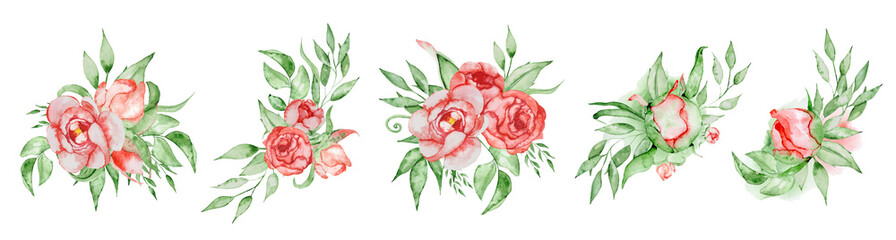 Wall Mural - Peonies bouquets set Hand painted watercolor combination of Flowers and Leaves