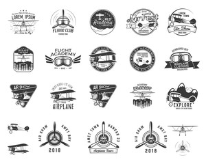 Vintage hand drawn old fly stamps. Travel or business airplane tour emblems. Biplane academy labels. Retro aerial badge isolated. Pilot school logos. Plane tee design, prints, web design. Stock vector