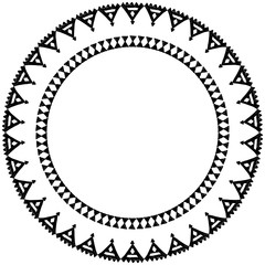 Beautiful card with native zigzag ornaments. Round frame mandala for your text. Hand drawn banner template with ethnic aztec border. Black contour isolated on white background. Vector