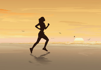 Silhouette of girl running on the beach, Fitness Woman, Walking, Jogging & Exercise - Vector illustration