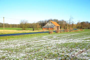 Old field barn in Muensterland, Westphalia, Germany