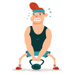 Mаn doing fitness exercises with weight. Cute guy cartoon vector character isolated on a white background. Healthy lifestyle and sport illustration.