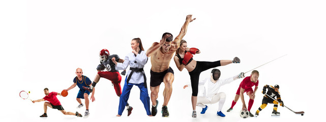 Sport collage about boxing, soccer, american football, basketball, ice hockey, fencing, jogging,...