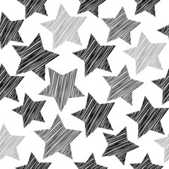 Sketch seamless pattern with stars. Black gray stars on white background. Geometric abstract background for site, blog, fabric. Vector
