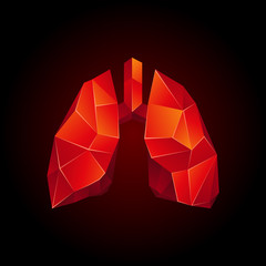 Red low poly human lungs on a black background. Abstract anatomy organ. Lungs in 3D polygon style.