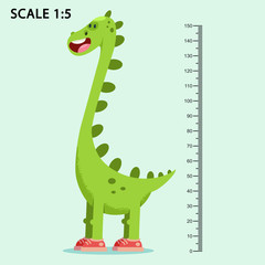 Kids meter wall with a cute smiling cartoon dinosaur and measuring ruler. Vector illustration of an animal isolated on a blue background.