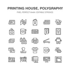 Printing house flat line icons. Print shop equipment - printer, scanner, offset machine, plotter, brochure, rubber stamp. Thin linear signs for polygraphy office, typography. Pixel perfect 64x64.