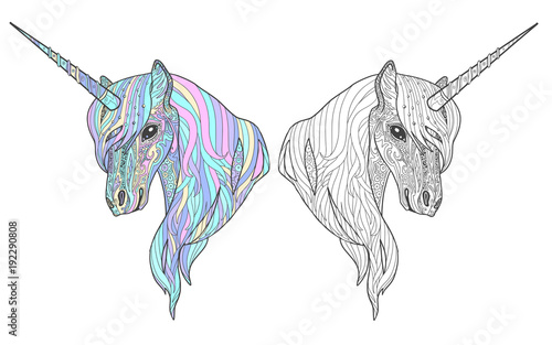 Unicorn Tales Animal Page For Adult Coloring Book With Sample Color And Monochrome Doodle
