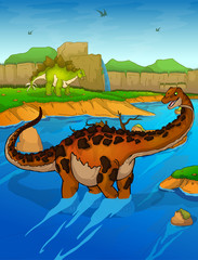 Titanosaur on the river background