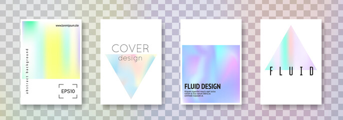 Fluid poster set. Abstract backgrounds. Retro fluid poster with gradient mesh. 90s, 80s retro style. Pearlescent graphic template for book, annual, mobile interface, web app.