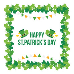 Happy St.Patrick's Day greeting card, illustration with cute shamrock, clover frame.
