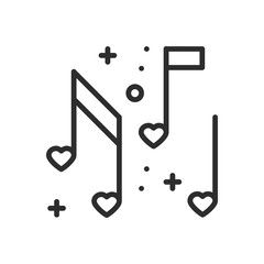 Love music heart notes line icon. Sign and symbol. Disco dance nightlife club party theme. Party basic element icon.