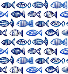 Watercolor blue fish pattern. Sea animal background. Aquarium illustration
