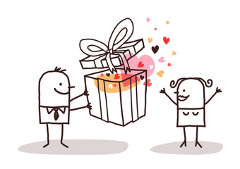 Cartoon Man Offering a Present to a Woman