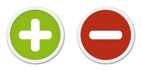 Buttons Plus und Minus in grün und rot