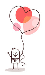 Cartoon Man Holding Up a big Heart Balloon