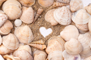 Heart drawn on the sand on the beach among seashells. Vacation, beach.
