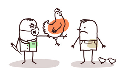 Cartoon Doctor and Farmer with Sick Chicken