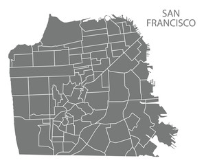 San Francisco city map with neighbourhoods grey illustration silhouette shape