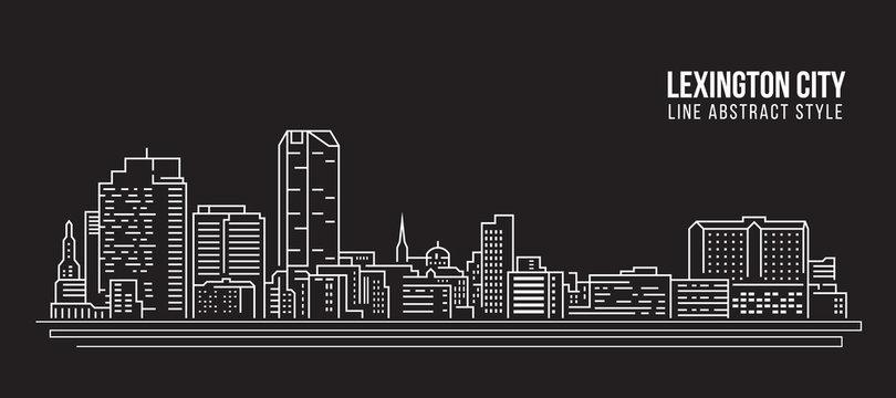 Cityscape Building Line art Vector Illustration design - Lexington city