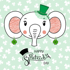 Hand drawn vector portrait of a cute funny elephant in a leprechaun top hat, with text Happy Saint Patrick's day. Isolated objects on white. Vector illustration. Design concept for kids, celebration.