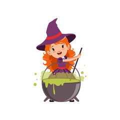 Little red-haired girl witch preparing a potion in a cauldron, wearing purple dress and hat. Kid character in Halloween costume. Flat cartoon vector isolated on white.