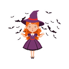 Young red-haired girl witch standing with hands up and wearing purple dress and hat. Kid character in Halloween costume surrounded with black bats. Flat cartoon vector