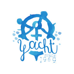 Original blue emblem for yacht club. Hand drawn illustration with steering wheel and anchor. Bright watercolor painting. Abstract vector design for advertising poster