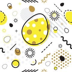 Trendy seamless, Memphis style Easter geometric pattern, vector illustration with line elements and  geometric figures. Design backgrounds for invitation, brochure template Memphis fashion