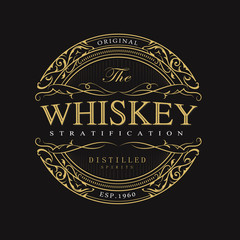 Vintage whiskey badge banner engraving retro vector illustration