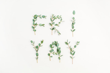 Urban word Friyay. The last day of the work week concept made of eucalyptus branch on white background. Flat lay, top view Friday composition.